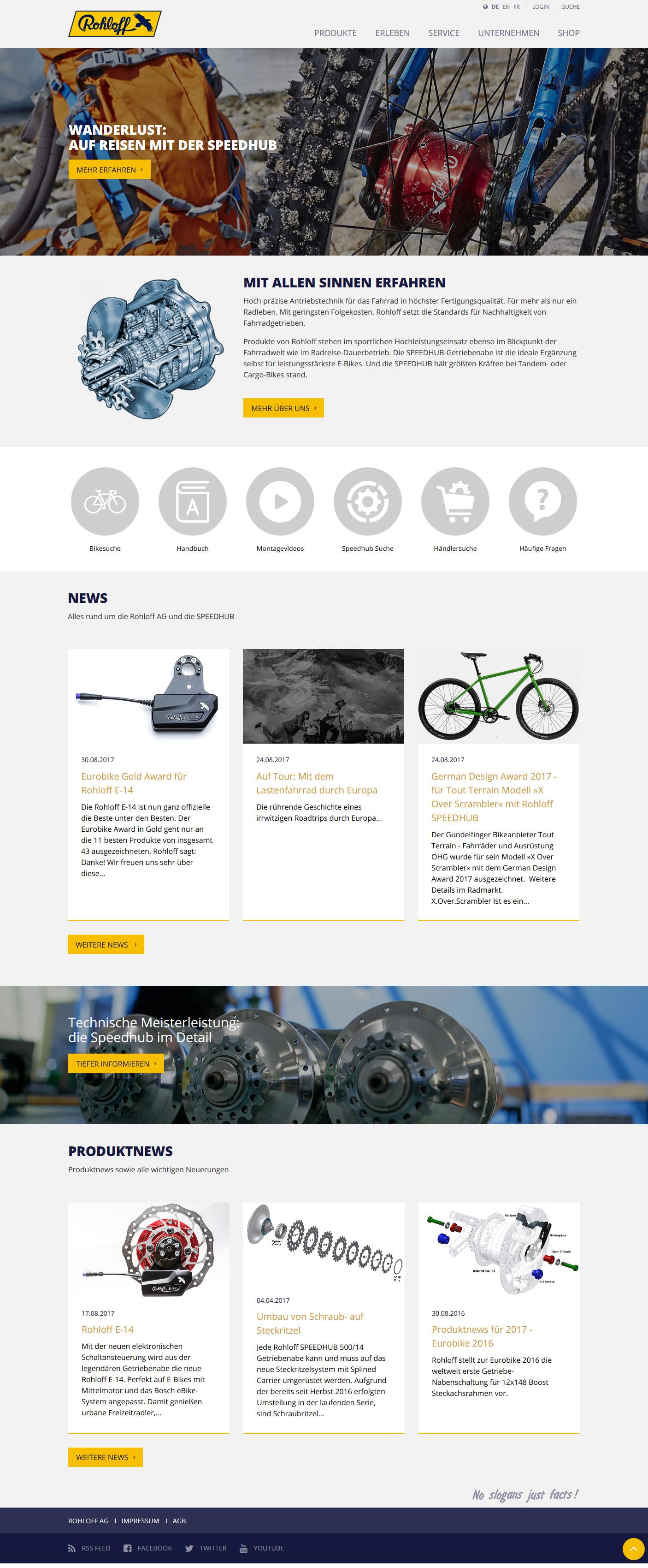Screenshot der umgesetzten Startseite (Abruf am 4. September 2017)